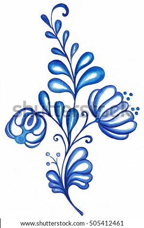 artistic image of a traditional blue ornament flower