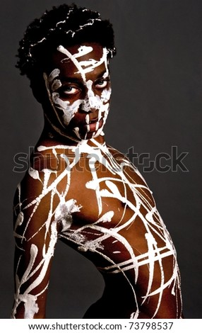 Artistic image of an African American model. - stock photo