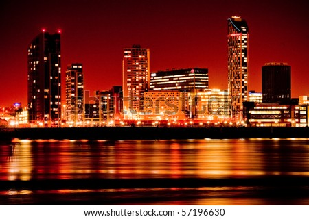 Artistic image of modern buildings in red colours - stock photo