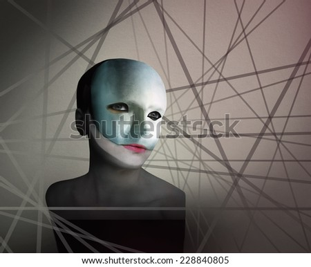 Artistic image represent a face of a a woman with a mask in geometry lines in the background - stock photo