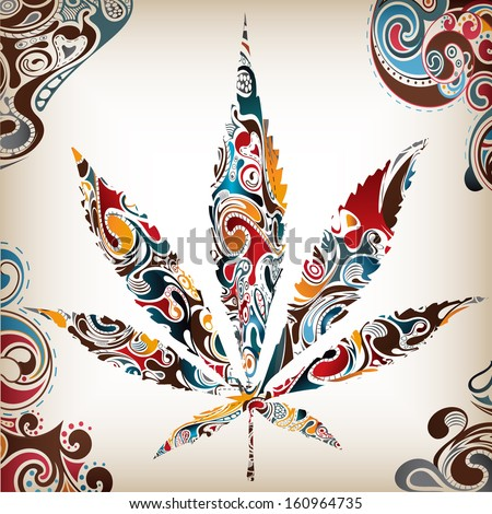 Artistic Leaf (Cannabis) Poster Template  - suitable for posters, flyers, brochures, banners, badges, wallpapers, web design, advertising, publicity and more  - stock photo