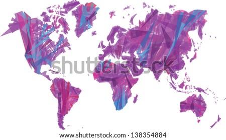 Artistic Map World Isolated On White Stock Illustration - Artistic world map