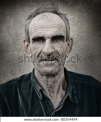 Artistic old photo of elderly bald man, grunge vintage background - stock photo