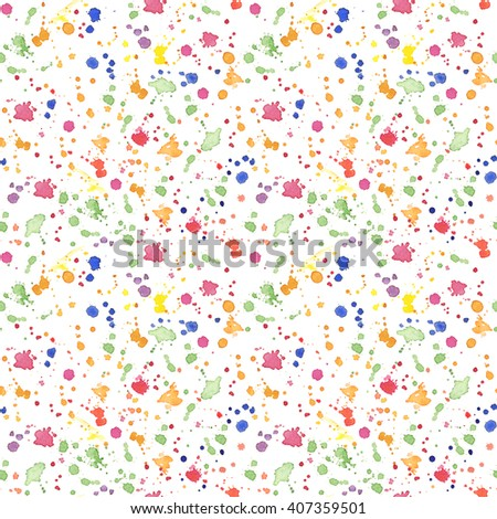 Artistic paint splashes and blots seamless pattern. Colorful background - stock photo