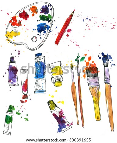 artistic painting set of art materials, drawn by watercolor, palette, isolated supplies, tubes of paint, brushes and stains, accessories for drawing