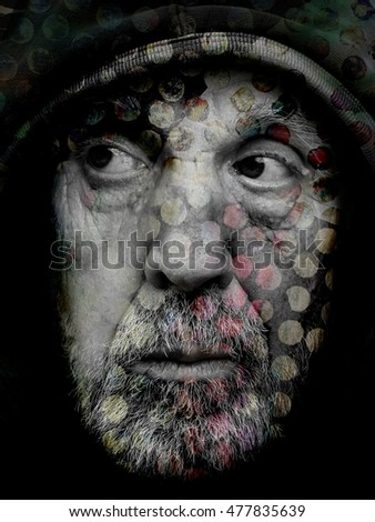 Artistic Photographic Collage Portrait of a Hooded Senior Male Model