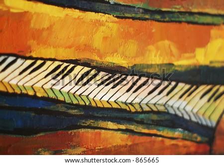 artistic piano closeup - stock photo