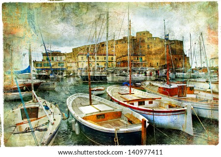 artistic picture in painting style - boats in Naples port in front of castle Uovo - stock photo