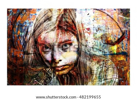 Artistic Portrait Collage of an Intense Young Woman