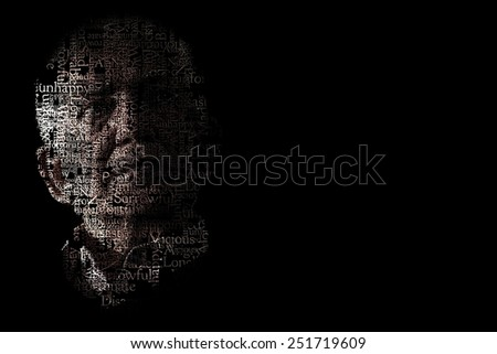 Artistic portrait of unhappy senior man on black background - stock photo