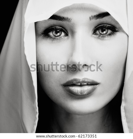 Artistic portrait of woman with sensual expressive face