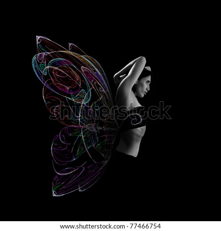 Artistic portrait of young woman with butterfly wings made of colored light. isolated on black. - stock photo