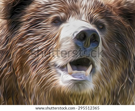 Artistic processing; close up of a brown bear; painting - stock photo