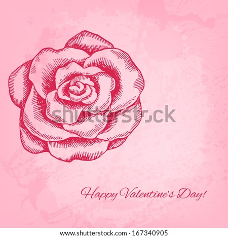 Artistic raster valentine background with ink style hand drawn rose - stock photo