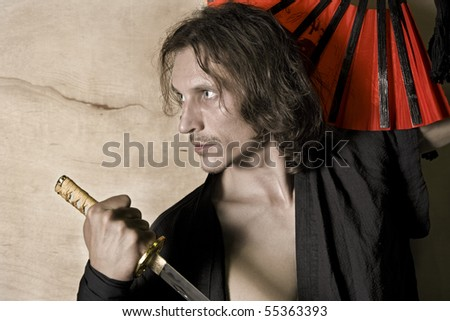 artistic render of a samurai warrior - stock photo