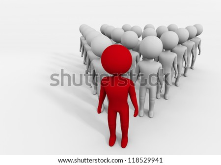 Artistic representation of a leader, puppet, red, highlighted in front of his men, Character leader - stock photo