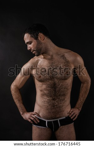 Artistic Sexy Man with Chest Hair - stock photo
