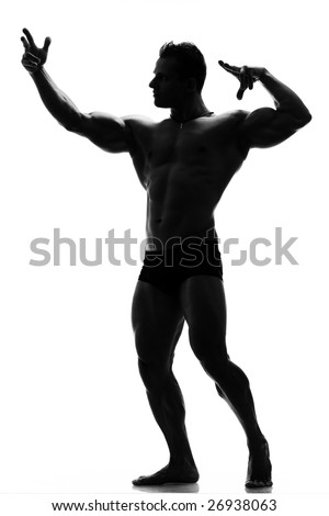 artistic shot of a silhouette muscular man