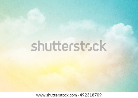 artistic sky and cloud with gradient color and grunge paper texture