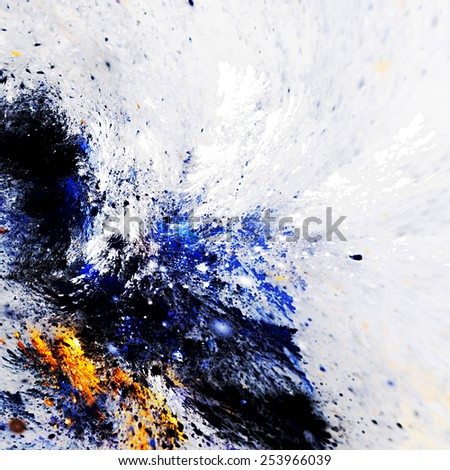 Artistic splashes of bright paints. Abstract color pattern. Modern futuristic background for wallpaper, interior, album, flyer cover, poster, booklet. Fractal artwork for creative graphic design. - stock photo