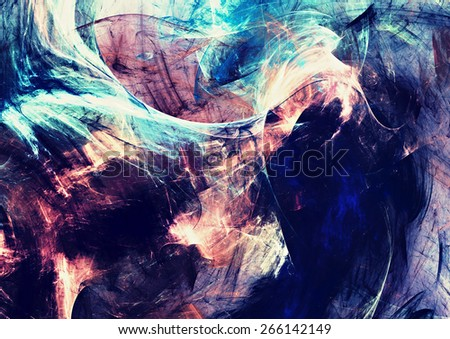 Artistic splashes of bright paints. Abstract dark color background with lighting effect for creative design. Modern futuristic pattern for wallpaper, album, flyer cover, poster. Fractal artwork - stock photo