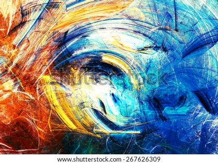 Artistic splashes of bright paints. Abstract summer color background with lighting effect for creative design. Modern futuristic dynamic pattern for wallpaper, flyer cover, poster. Fractal artwork - stock photo