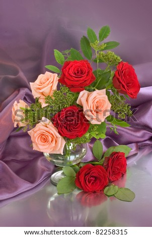 Artistic still life with red roses - stock photo