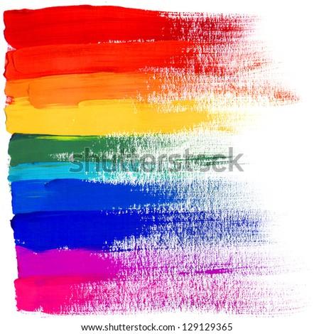 Artistic strokes of gouache paint. Rainbow colors. - stock photo