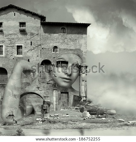 Artistic surreal imagine in black and white with a girl face camouflaged in a complex of antique building and ruins in a surreal background - stock photo