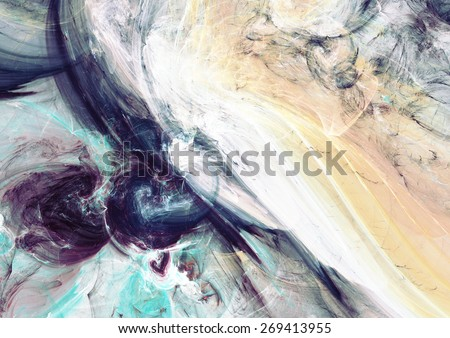 Artistic texture of soft paints. Abstract beautiful blue color background. Modern futuristic pattern for wallpaper, interior, flyer cover, poster, booklet. Fractal artwork for creative graphic design. - stock photo
