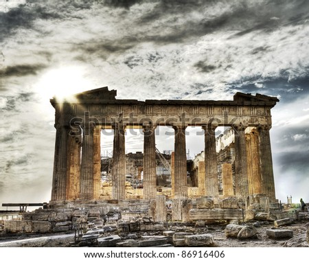 artistic view of Parthenon, Acropolis ,Athens,Greece - stock photo
