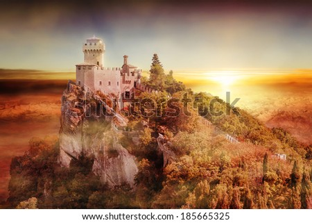 artistic view of San Marino second tower: the Cesta or Fratta at sunset - stock photo