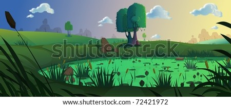Artistic view of trees and grass - stock photo