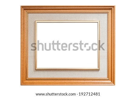 Artistic wood frame with burlap texture  - stock photo