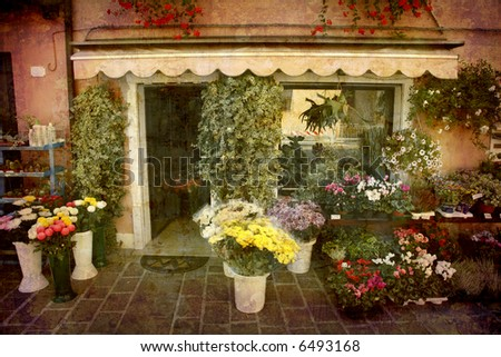 Artistic work of my own in retro style - Postcard from Italy. - Florist - Veneto.