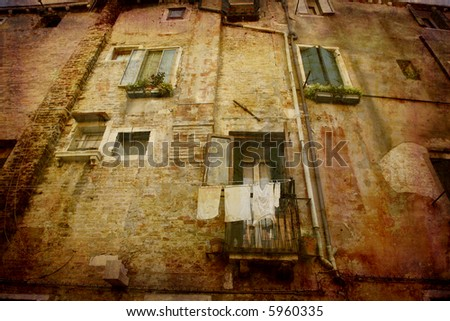 Artistic work of my own in retro style - Postcard from Italy. - Washing day - Venice. - stock photo