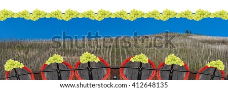Artistic work of my own.  Intentional blur; Panorama, vineyards on the Moselle at the bottom of barrels of wood in a row. - stock photo