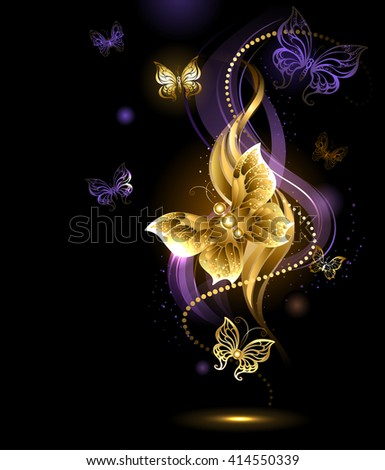 artistically painted , gold jewelry butterfly on abstract dark background. Design with butterflies. Golden Butterfly. Bright butterfly - stock photo