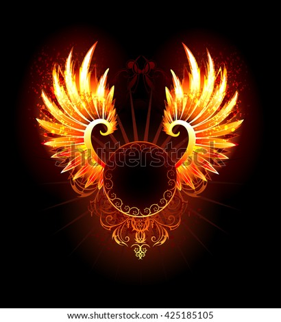 artistically painted,  round banner with fiery phoenix wings on a black background. Fiery wings. Hand drawing. Gothic style.  - stock photo