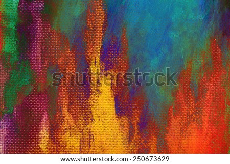 Artists acrylic painting macro, blue abstract  - stock photo