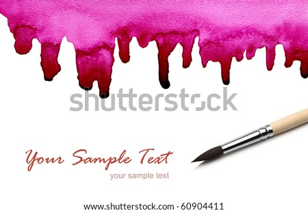 artists brush and abstract painted - stock photo