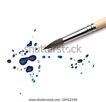artists brush and blots - stock photo