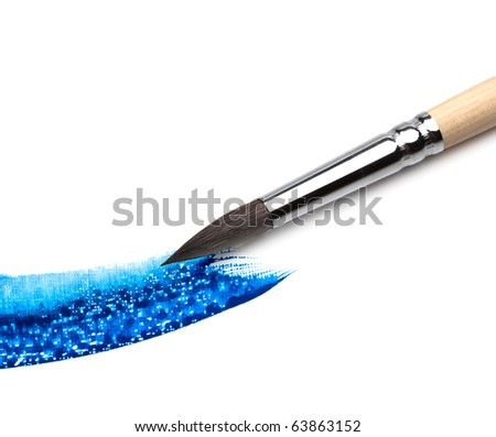 artists brush and paint - stock photo