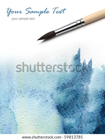 artists brush and watercolor painted - stock photo