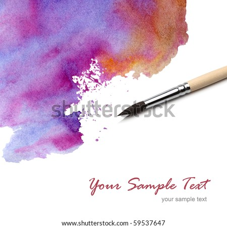 artists brush watercolor painted - stock photo
