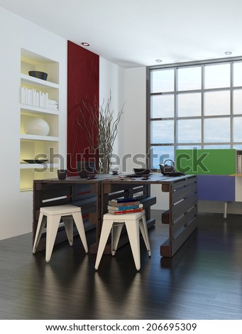Artists drawing room or design studio interior with storage units on the walls in front of a large light window