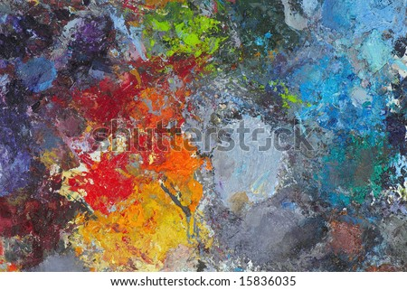 Artists oil paints multi colored close up semi abstract - stock photo