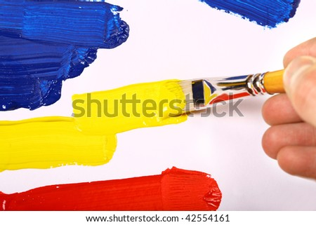 Artists paint brush and paint