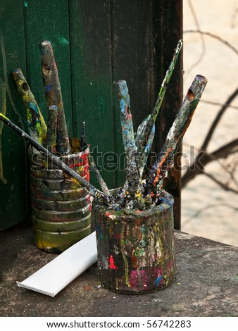 Artists paintbrushes - stock photo