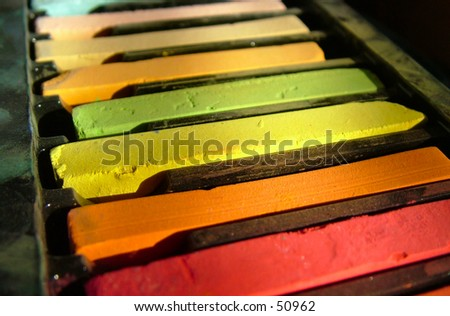 Artists pastels in warm colors. - stock photo